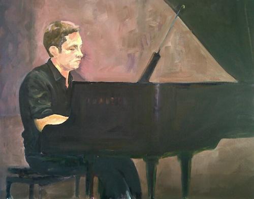 """""""Al piano"""" (mio figlio) - olio su tela (40x50)"""